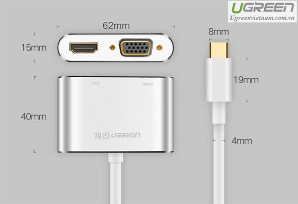Adapter UGREEN USB-C NA HDMI+VGA ADAPTER