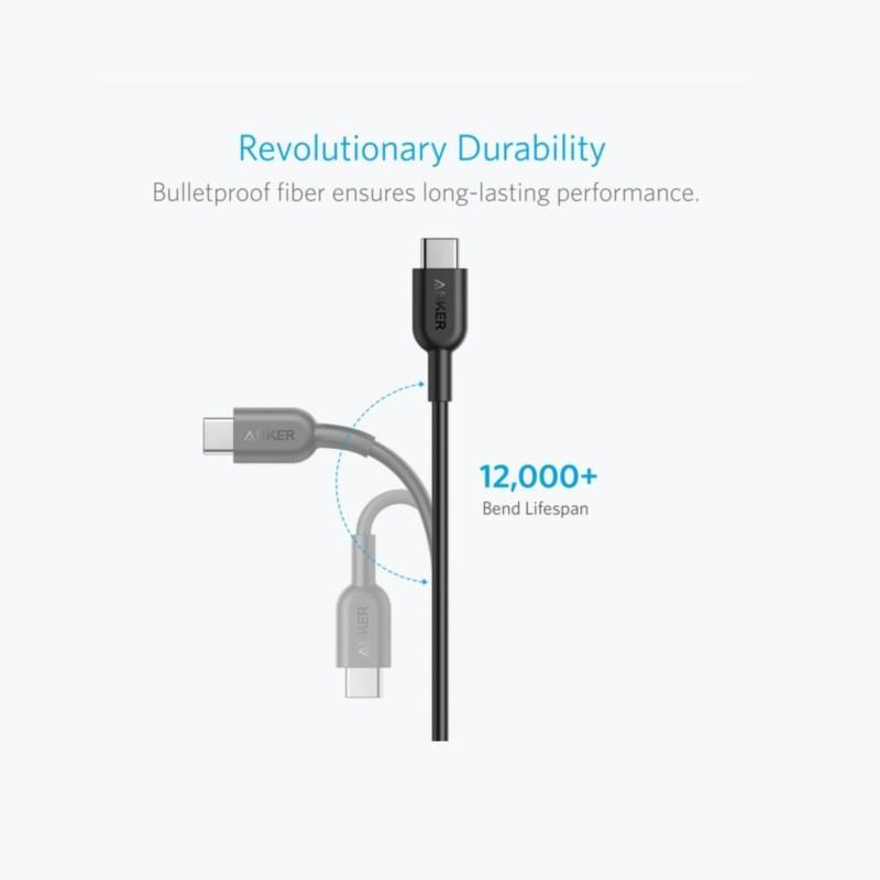 Polnilnik POWERLINE II USB-C TO USB-C 2.0 1.8M ČRN ANKER