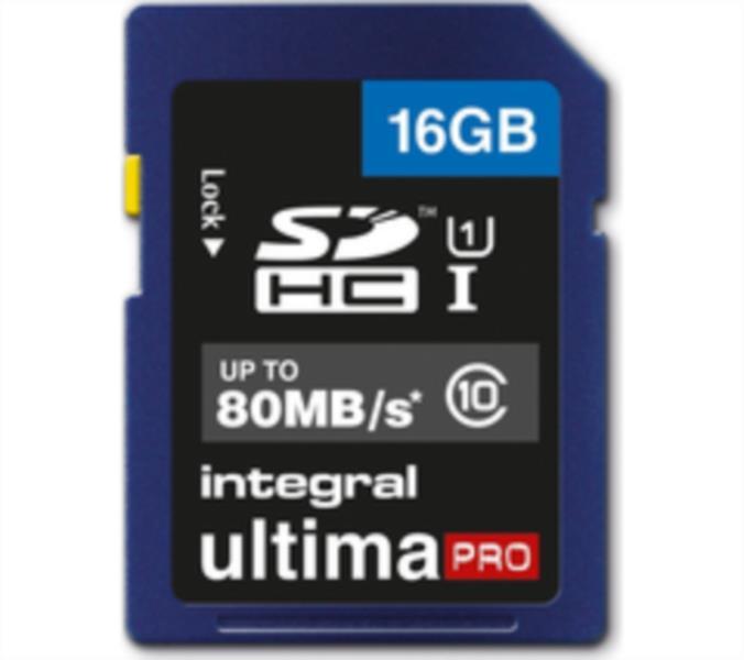 Spominska kartica INTEGRAL 16GB SDHC ULTIMA PRO CLASS10 80MB UHS-I U1