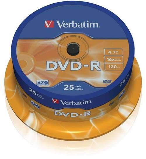 Dvd medij DVD-R 16X 4.7GB 25/1 CAKE VERBATIM